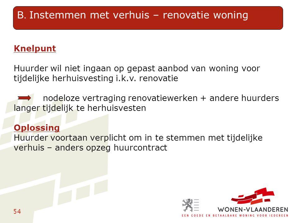 54 Knelpunt Huurder wil niet ingaan op gepast aanbod van woning voor tijdelijke herhuisvesting i.k.v. renovatie nodeloze vertraging renovatiewerken +