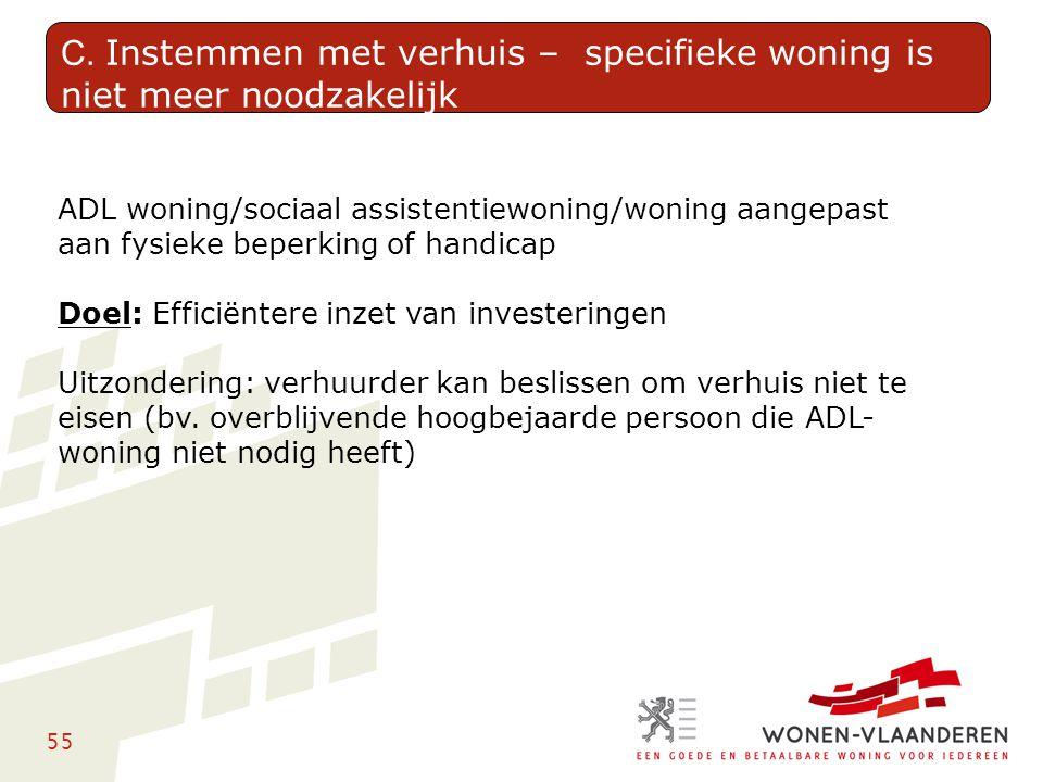 55 ADL woning/sociaal assistentiewoning/woning aangepast aan fysieke beperking of handicap Doel: Efficiëntere inzet van investeringen Uitzondering: ve