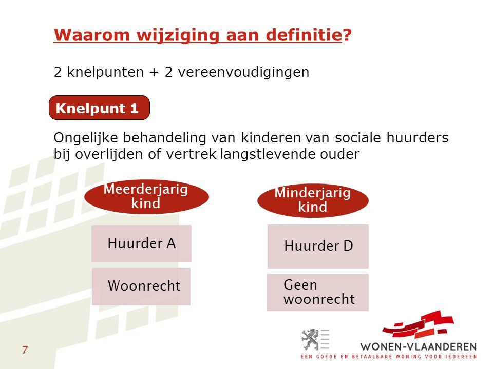 78 Behoud en centralisering huidige rechten en plichten Recht op tijdelijke of definitieve herhuisvesting Geen aftoetsing van de inkomensvoorwaarde Herhuisvesting kan bij een andere verhuurder Begrenzing van de aangepaste huurprijs (indien tijdelijk) Informatieplicht verhuurder (+ waarborg) Verduidelijkt met Afwijken toewijzingsregels Meer flexibiliteit in geval van tijdelijke herhuisvesting Kader in geval van onmiddellijk definitieve herhuisvesting