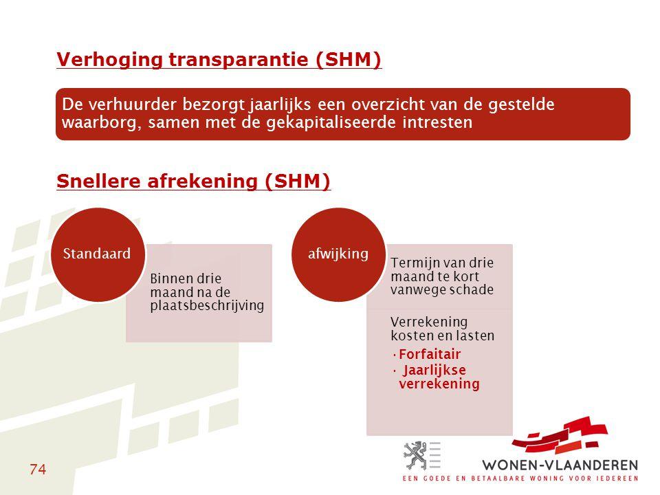 74 Verhoging transparantie (SHM) Snellere afrekening (SHM) De verhuurder bezorgt jaarlijks een overzicht van de gestelde waarborg, samen met de gekapi