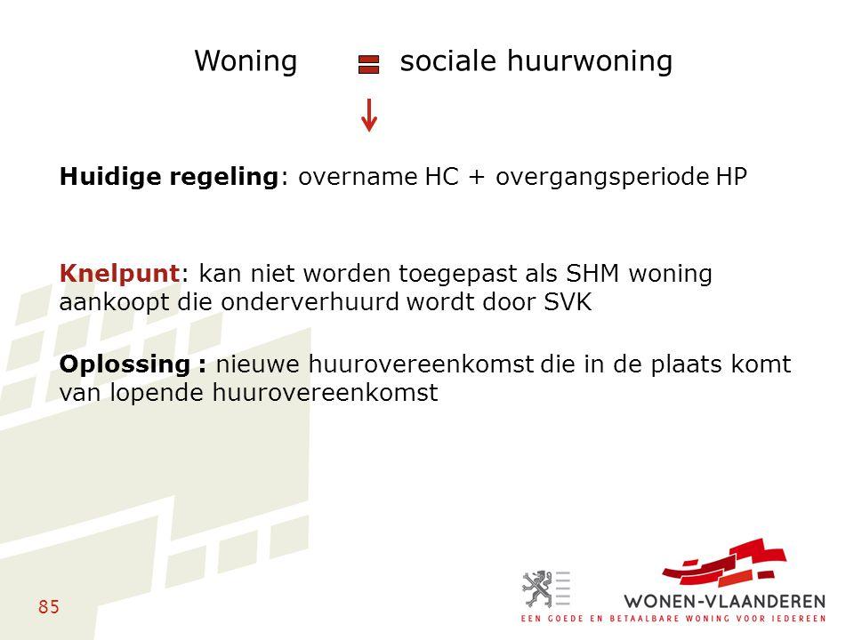 85 Woning sociale huurwoning Huidige regeling: overname HC + overgangsperiode HP Knelpunt: kan niet worden toegepast als SHM woning aankoopt die onder