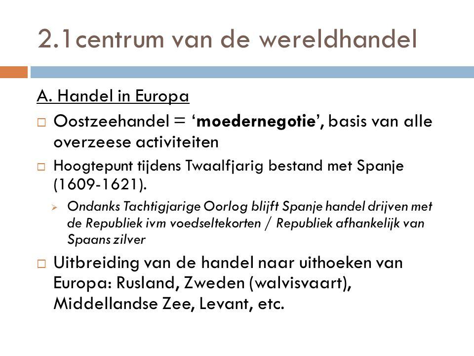 2.1centrum van de wereldhandel A. Handel in Europa  Oostzeehandel = 'moedernegotie', basis van alle overzeese activiteiten  Hoogtepunt tijdens Twaal