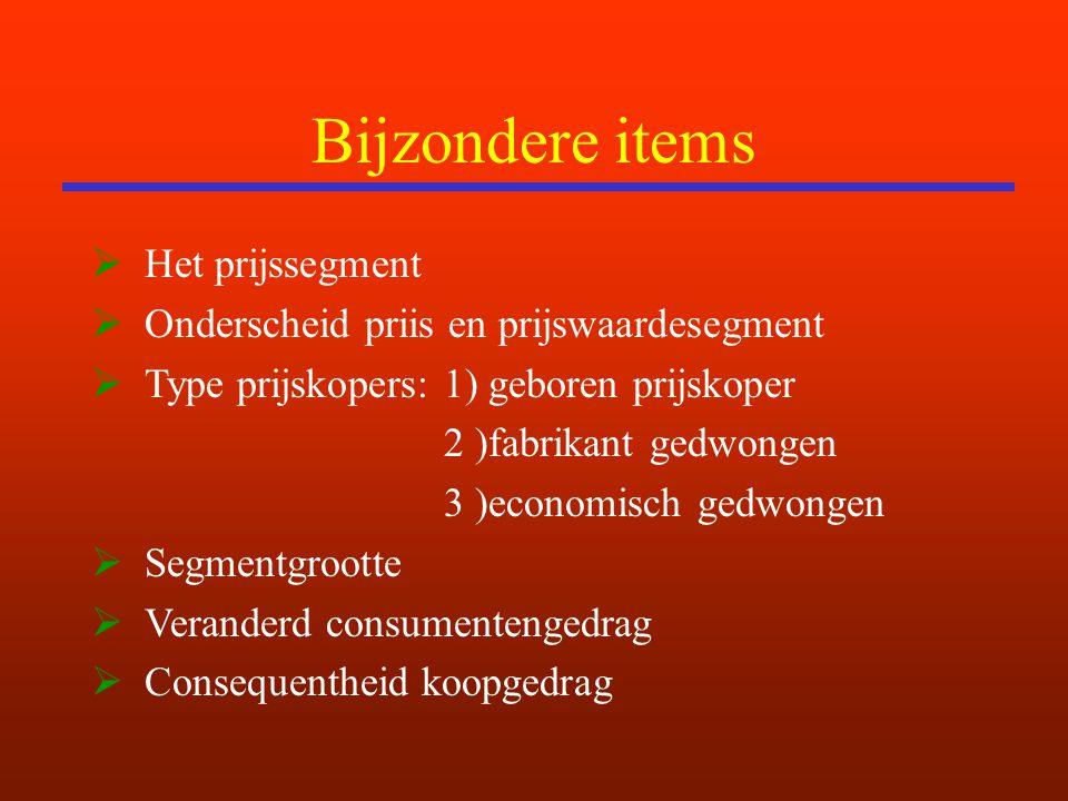 Bijzondere items  Het prijssegment  Onderscheid priis en prijswaardesegment  Type prijskopers: 1) geboren prijskoper 2 )fabrikant gedwongen 3 )econ