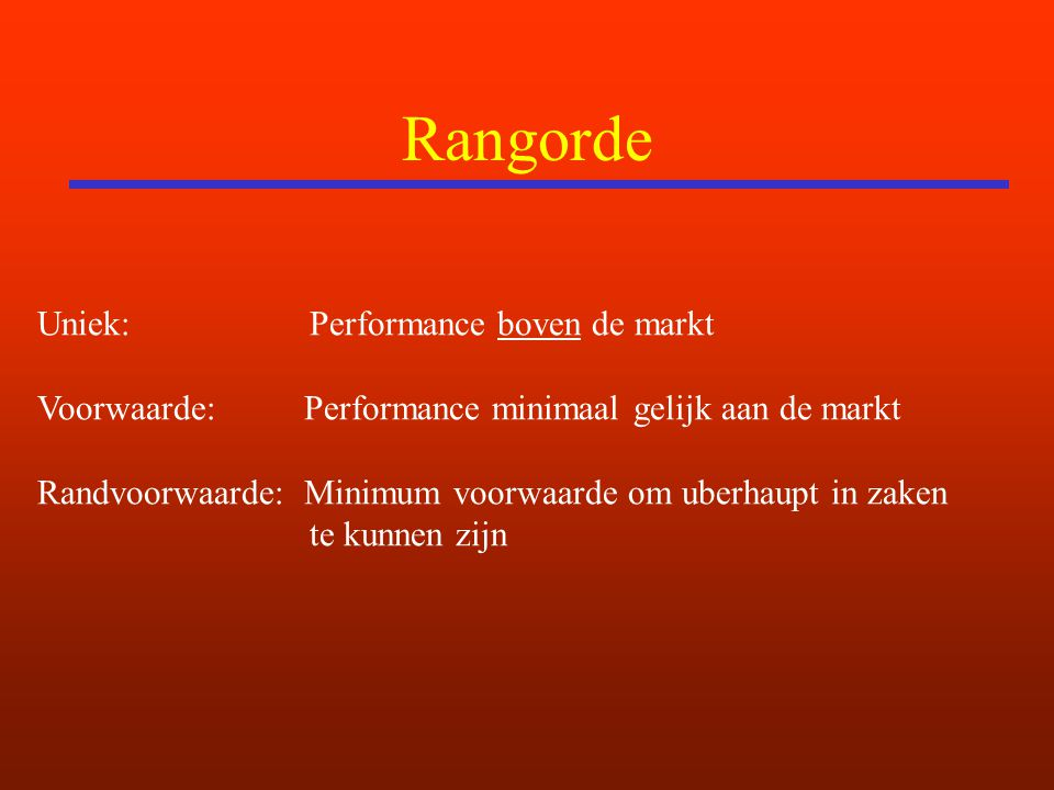 Rangorde Uniek: Performance boven de markt Voorwaarde: Performance minimaal gelijk aan de markt Randvoorwaarde: Minimum voorwaarde om uberhaupt in zaken te kunnen zijn