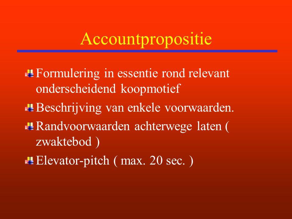 Accountpropositie Formulering in essentie rond relevant onderscheidend koopmotief Beschrijving van enkele voorwaarden. Randvoorwaarden achterwege late