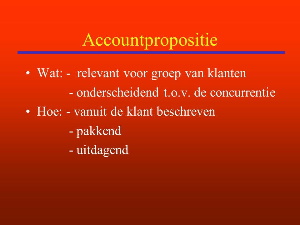 Accountpropositie Wat: - relevant voor groep van klanten - onderscheidend t.o.v. de concurrentie Hoe: - vanuit de klant beschreven - pakkend - uitdage