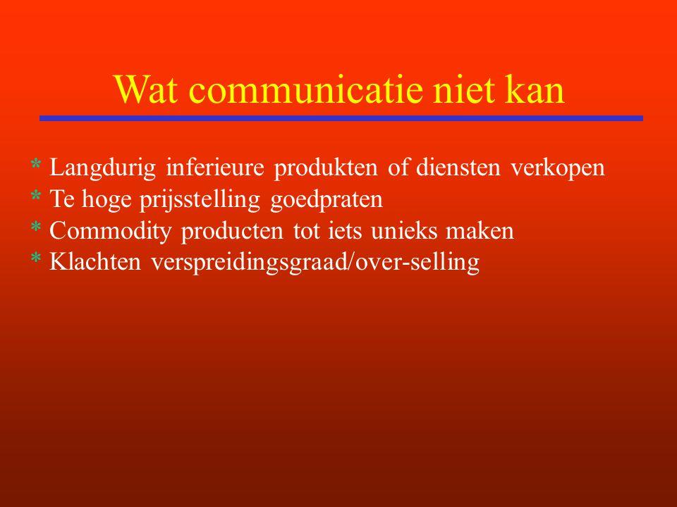 Wat communicatie niet kan * Langdurig inferieure produkten of diensten verkopen * Te hoge prijsstelling goedpraten * Commodity producten tot iets unieks maken * Klachten verspreidingsgraad/over-selling
