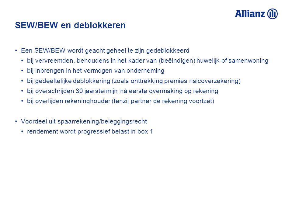 SEW/BEW en deblokkeren Een SEW/BEW wordt geacht geheel te zijn gedeblokkeerd bij vervreemden, behoudens in het kader van (beëindigen) huwelijk of same