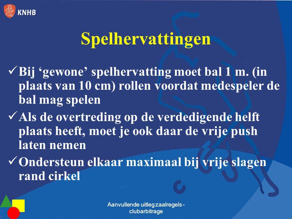 Spelhervattingen Bij 'gewone' spelhervatting moet bal 1 m. (in plaats van 10 cm) rollen voordat medespeler de bal mag spelen Als de overtreding op de