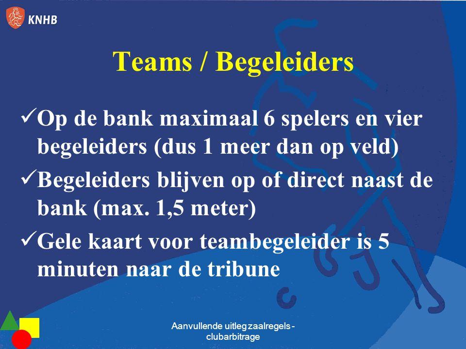 Teams / Begeleiders Op de bank maximaal 6 spelers en vier begeleiders (dus 1 meer dan op veld) Begeleiders blijven op of direct naast de bank (max. 1,