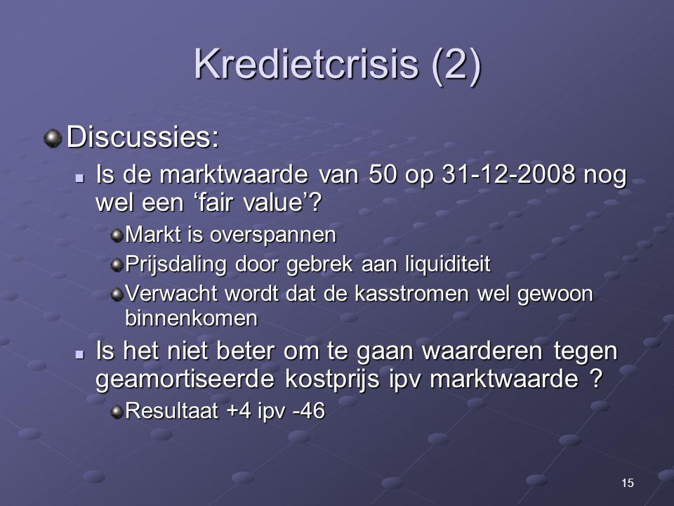 15 Kredietcrisis (2) Discussies: Is de marktwaarde van 50 op 31-12-2008 nog wel een 'fair value'? Is de marktwaarde van 50 op 31-12-2008 nog wel een '