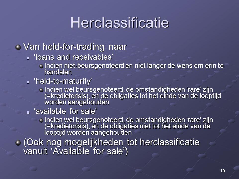 19 Herclassificatie Van held-for-trading naar 'loans and receivables' 'loans and receivables' Indien niet-beursgenoteerd en niet langer de wens om eri