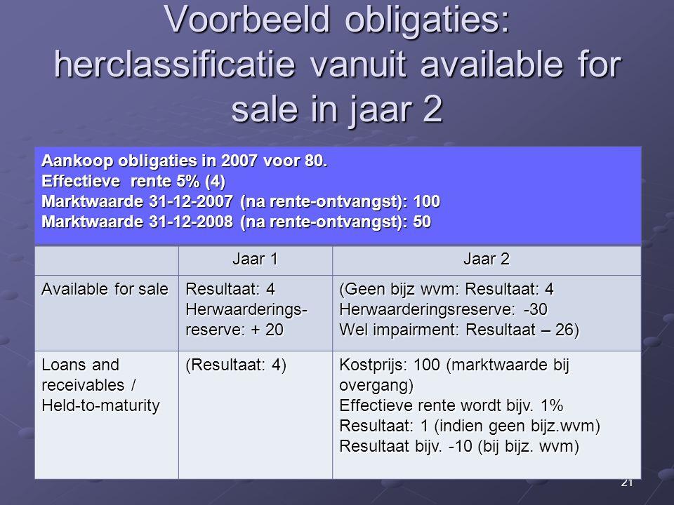 21 Voorbeeld obligaties: herclassificatie vanuit available for sale in jaar 2 Aankoop obligaties in 2007 voor 80. Effectieve rente 5% (4) Marktwaarde