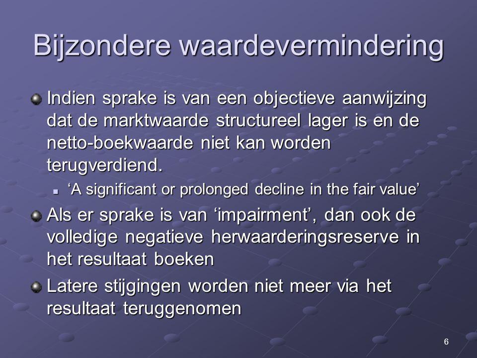 27 Lange termijn aanpassingen (2) Declaration of the Summit on Financial Markets and the World Economy (G-20, 15-11-2008): Strengthening Transparency and Accountability: Immediate action (per 31 maart 2009): Immediate action (per 31 maart 2009): Waardering illiquide producten gedurende overspannen tijden Regelgevers moeten zoeken naar huidige zwakke punten in regels (waaronder vermelding van off-balance vehikels) Meer transparantie in complexe financiële producten Betere governance IASB Medium-term actions: Medium-term actions: Werken naar een wereldwijde standaard Betere waarborging van goede toepassing van standaarden Betere risk disclosures van financiële instellingen