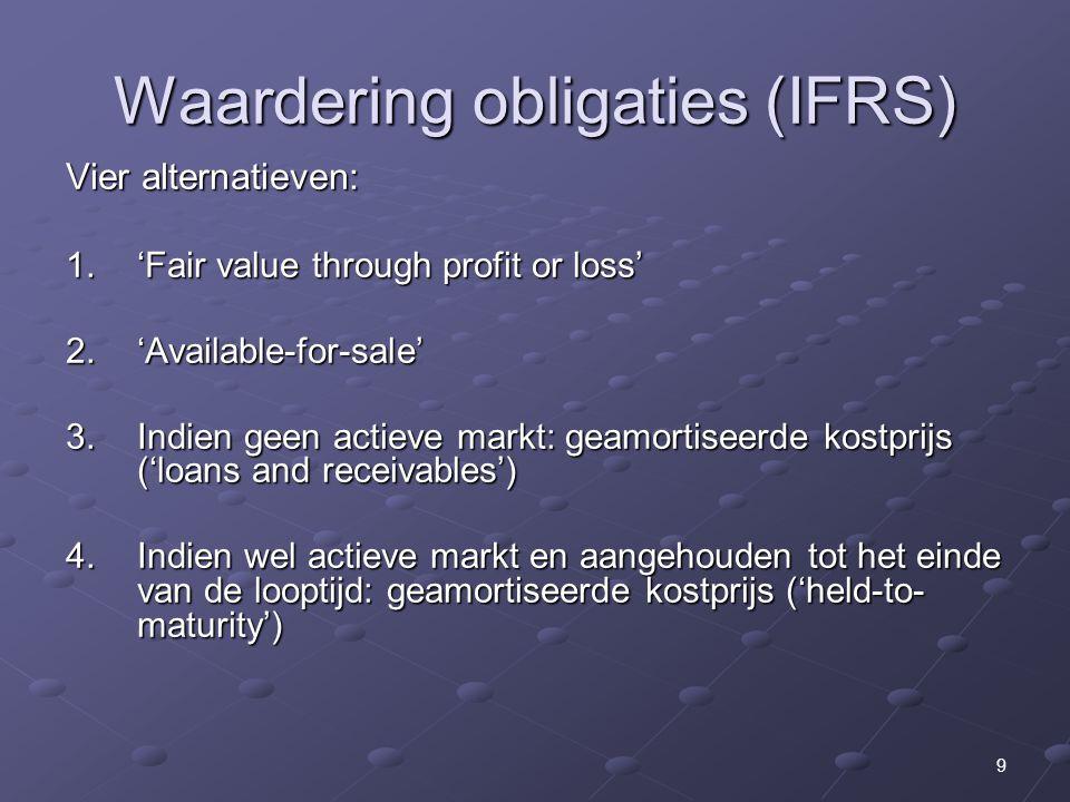 9 Waardering obligaties (IFRS) Vier alternatieven: 1. 'Fair value through profit or loss' 2. 'Available-for-sale' 3. Indien geen actieve markt: geamor