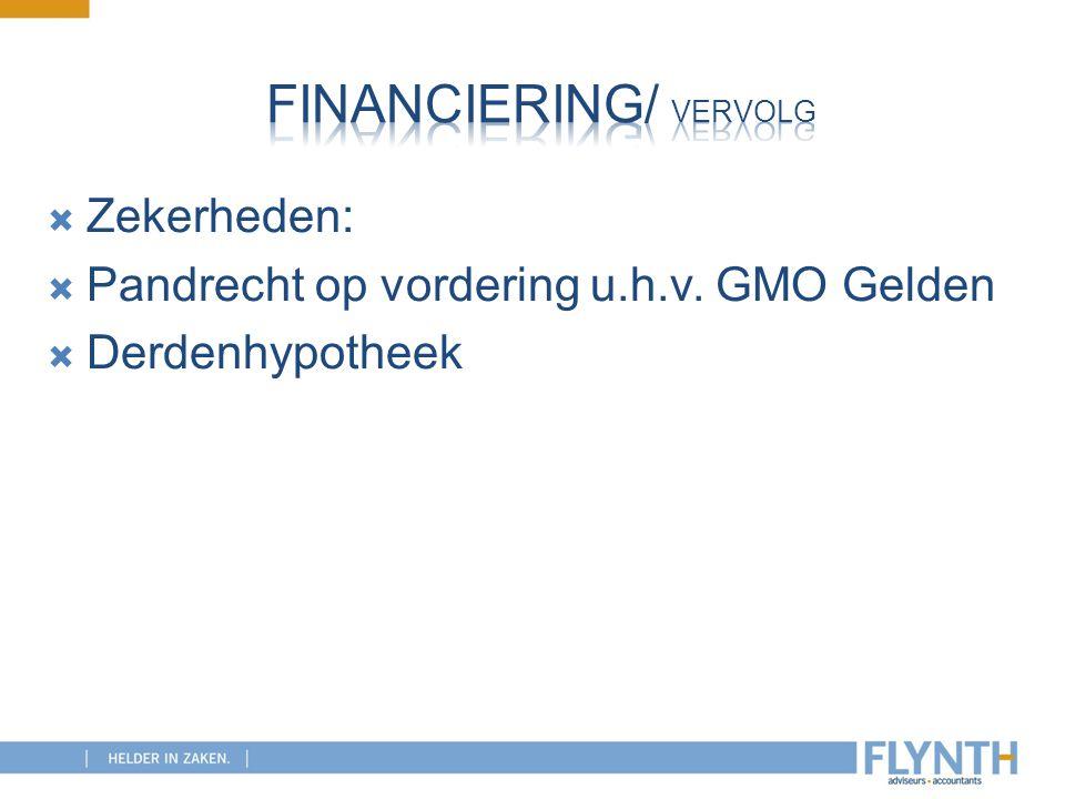  Zekerheden:  Pandrecht op vordering u.h.v. GMO Gelden  Derdenhypotheek