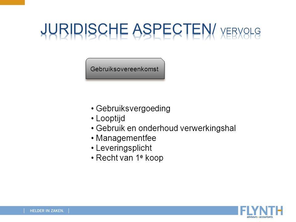 Gebruiksovereenkomst Gebruiksvergoeding Looptijd Gebruik en onderhoud verwerkingshal Managementfee Leveringsplicht Recht van 1 e koop