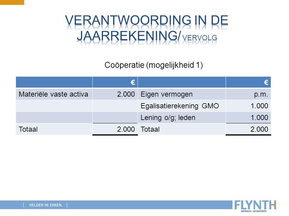 €€ Materiële vaste activa2.000Eigen vermogenp.m. Egalisatierekening GMO1.000 Lening o/g; leden1.000 Totaal2.000Totaal2.000 Coöperatie (mogelijkheid 1)