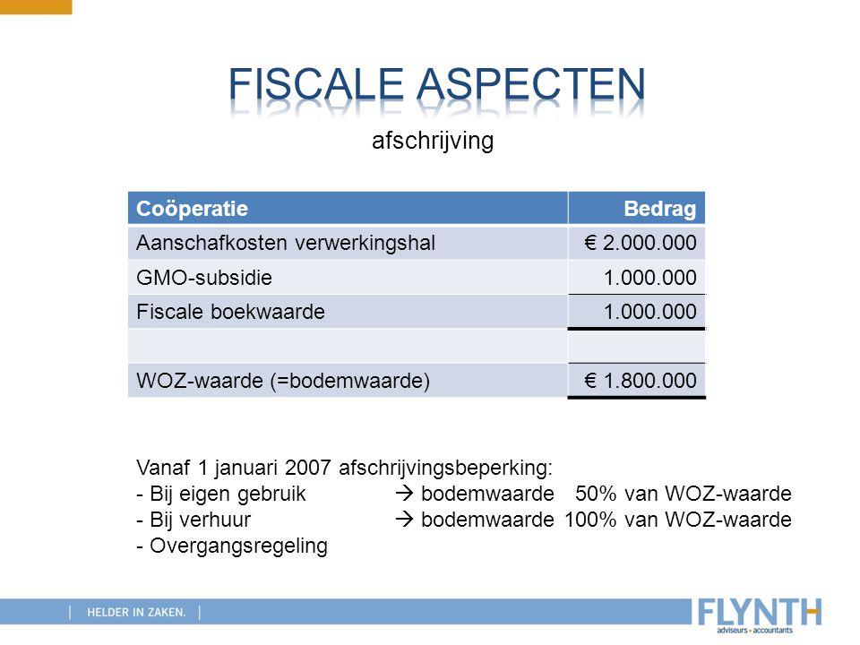 CoöperatieBedrag Aanschafkosten verwerkingshal€ 2.000.000 GMO-subsidie1.000.000 Fiscale boekwaarde1.000.000 WOZ-waarde (=bodemwaarde)€ 1.800.000 Vanaf
