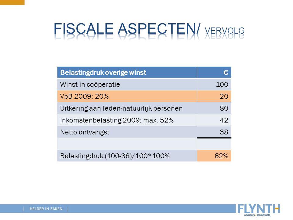 Belastingdruk overige winst€ Winst in coöperatie100 VpB 2009: 20%20 Uitkering aan leden-natuurlijk personen80 Inkomstenbelasting 2009: max. 52%42 Nett