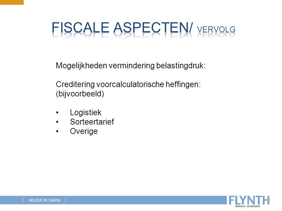Mogelijkheden vermindering belastingdruk: Creditering voorcalculatorische heffingen: (bijvoorbeeld) Logistiek Sorteertarief Overige