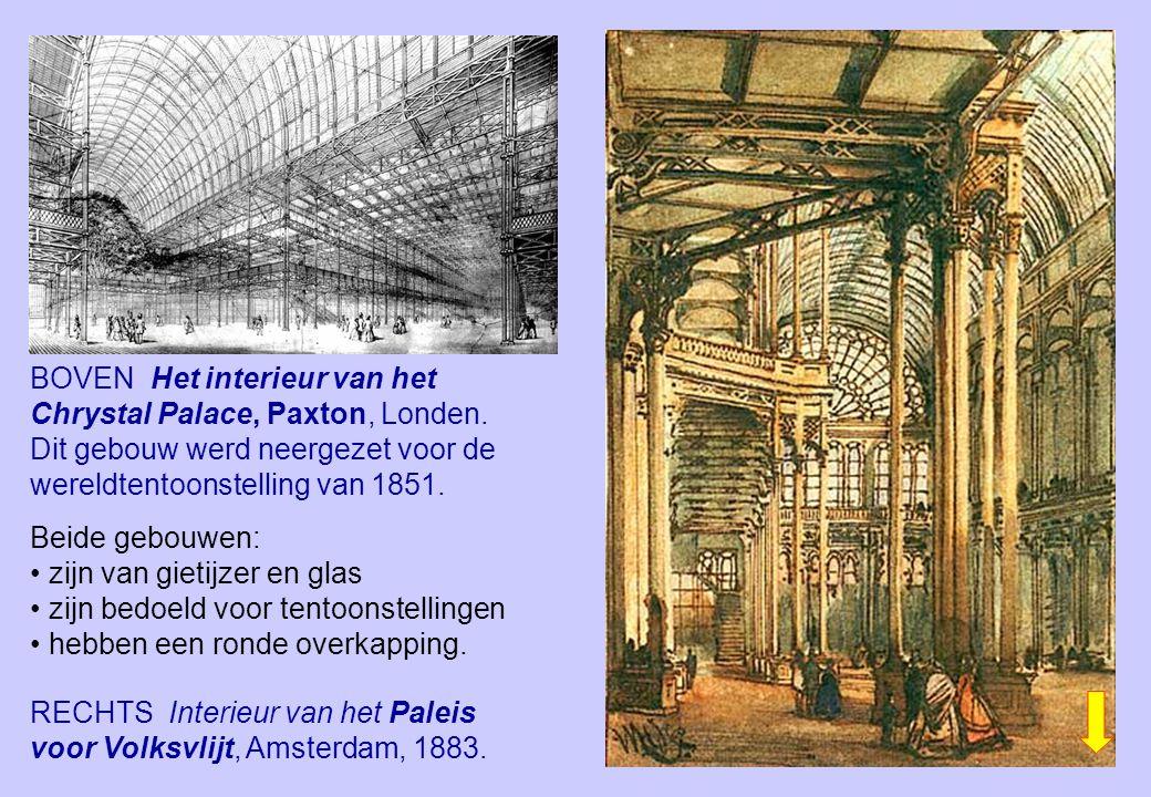 RECHTS Interieur van het Paleis voor Volksvlijt, Amsterdam, 1883. BOVEN Het interieur van het Chrystal Palace, Paxton, Londen. Dit gebouw werd neergez