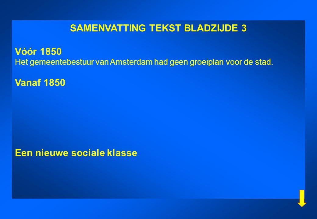SAMENVATTING TEKST BLADZIJDE 3 Vóór 1850 Het gemeentebestuur van Amsterdam had geen groeiplan voor de stad. Vanaf 1850 Een nieuwe sociale klasse
