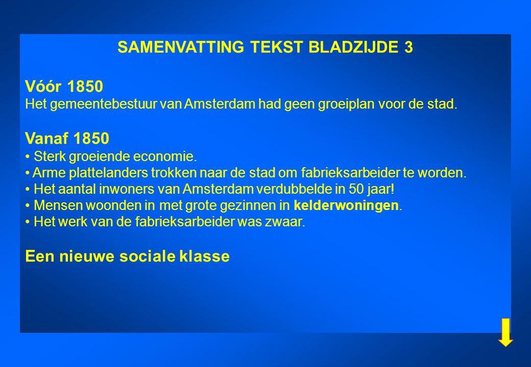 SAMENVATTING TEKST BLADZIJDE 3 Vóór 1850 Het gemeentebestuur van Amsterdam had geen groeiplan voor de stad. Vanaf 1850 Sterk groeiende economie. Arme