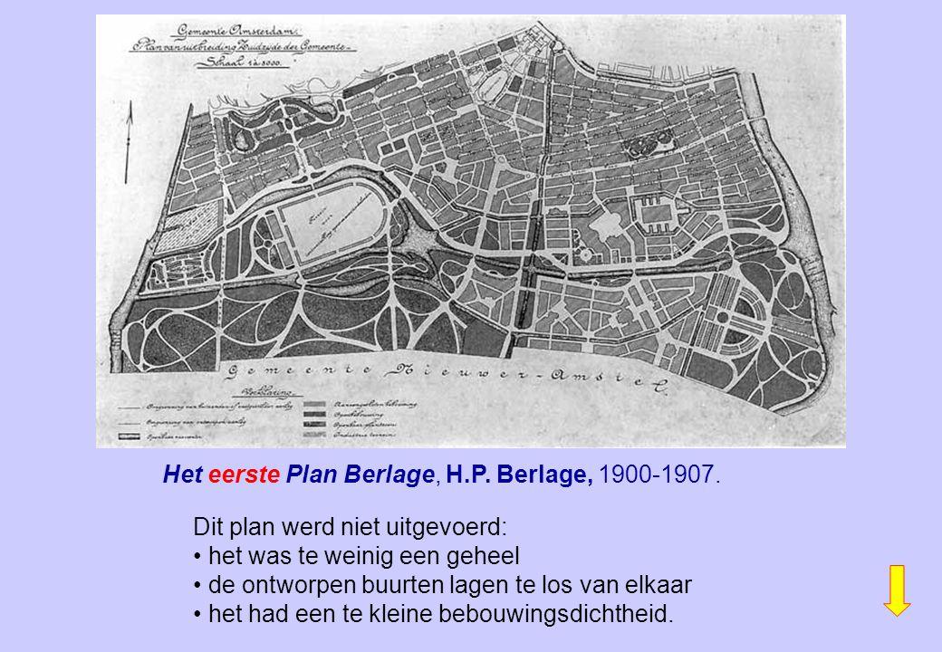 Het eerste Plan Berlage, H.P. Berlage, 1900-1907. Dit plan werd niet uitgevoerd: het was te weinig een geheel de ontworpen buurten lagen te los van el