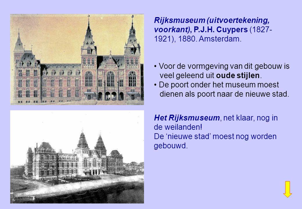 Rijksmuseum (uitvoertekening, voorkant), P.J.H. Cuypers (1827- 1921), 1880. Amsterdam. Het Rijksmuseum, net klaar, nog in de weilanden! De 'nieuwe sta