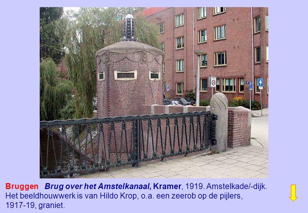 Bruggen Brug over het Amstelkanaal, Kramer, 1919. Amstelkade/-dijk. Het beeldhouwwerk is van Hildo Krop, o.a. een zeerob op de pijlers, 1917-19, grani