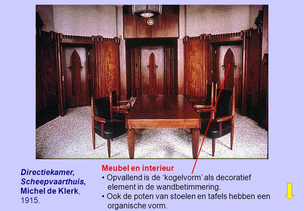 Directiekamer, Scheepvaarthuis, Michel de Klerk, 1915. Meubel en interieur Opvallend is de 'kogelvorm' als decoratief element in de wandbetimmering. O