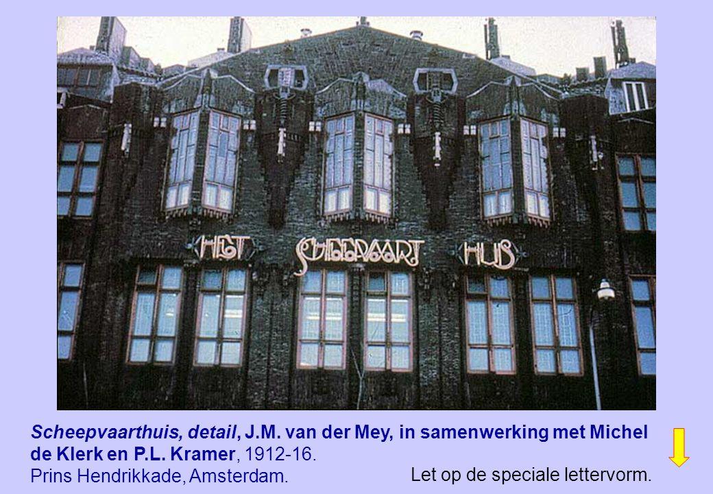 Scheepvaarthuis, detail, J.M. van der Mey, in samenwerking met Michel de Klerk en P.L. Kramer, 1912-16. Prins Hendrikkade, Amsterdam. Let op de specia