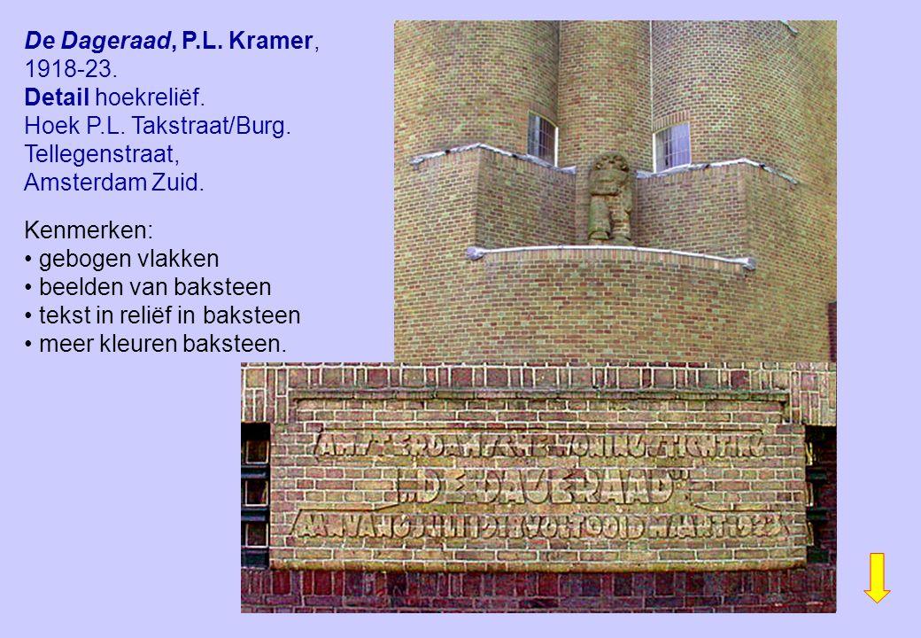 De Dageraad, P.L. Kramer, 1918-23. Detail hoekreliëf. Hoek P.L. Takstraat/Burg. Tellegenstraat, Amsterdam Zuid. Kenmerken: gebogen vlakken beelden van