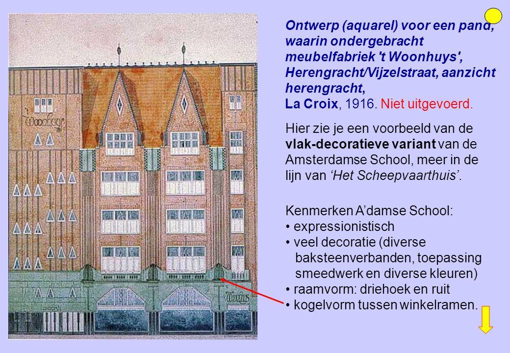 Hier zie je een voorbeeld van de vlak-decoratieve variant van de Amsterdamse School, meer in de lijn van 'Het Scheepvaarthuis'. Ontwerp (aquarel) voor