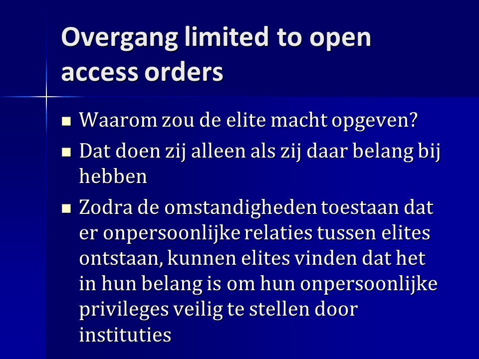 Overgang limited to open access orders Waarom zou de elite macht opgeven.