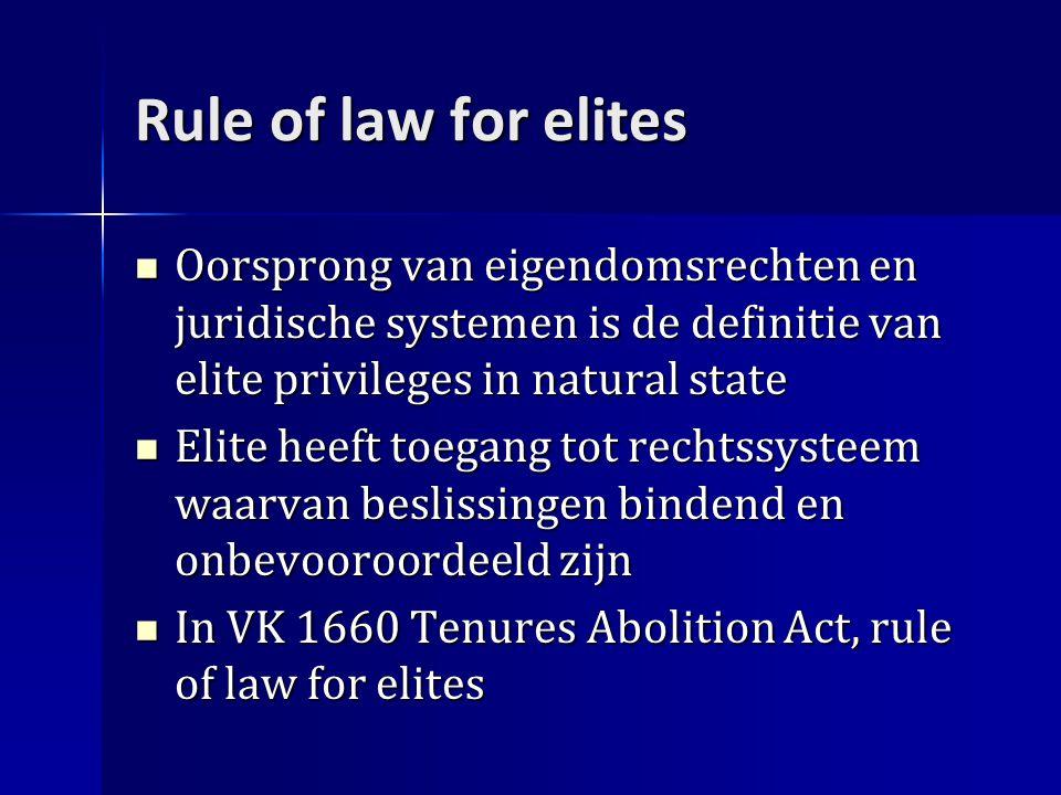 Rule of law for elites Oorsprong van eigendomsrechten en juridische systemen is de definitie van elite privileges in natural state Oorsprong van eigendomsrechten en juridische systemen is de definitie van elite privileges in natural state Elite heeft toegang tot rechtssysteem waarvan beslissingen bindend en onbevooroordeeld zijn Elite heeft toegang tot rechtssysteem waarvan beslissingen bindend en onbevooroordeeld zijn In VK 1660 Tenures Abolition Act, rule of law for elites In VK 1660 Tenures Abolition Act, rule of law for elites