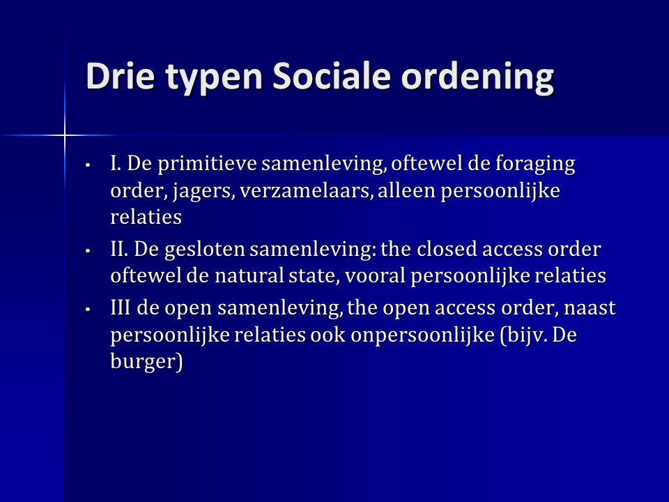 Drie typen Sociale ordening I.