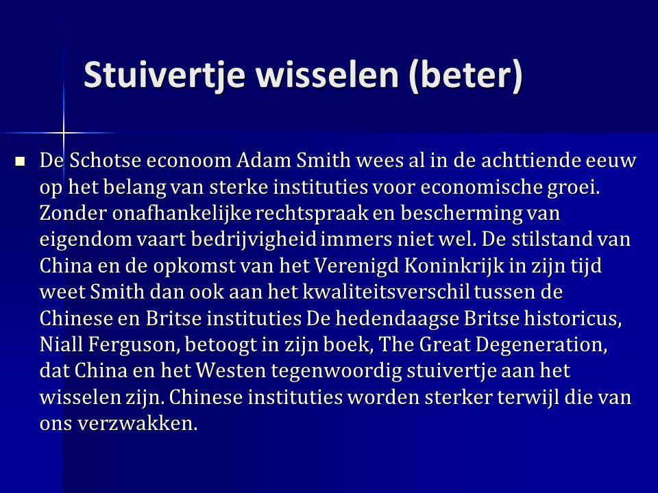 Stuivertje wisselen (beter) De Schotse econoom Adam Smith wees al in de achttiende eeuw op het belang van sterke instituties voor economische groei.