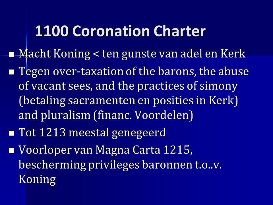 1100 Coronation Charter Macht Koning < ten gunste van adel en Kerk Macht Koning < ten gunste van adel en Kerk Tegen over-taxation of the barons, the abuse of vacant sees, and the practices of simony (betaling sacramenten en posities in Kerk) and pluralism (financ.