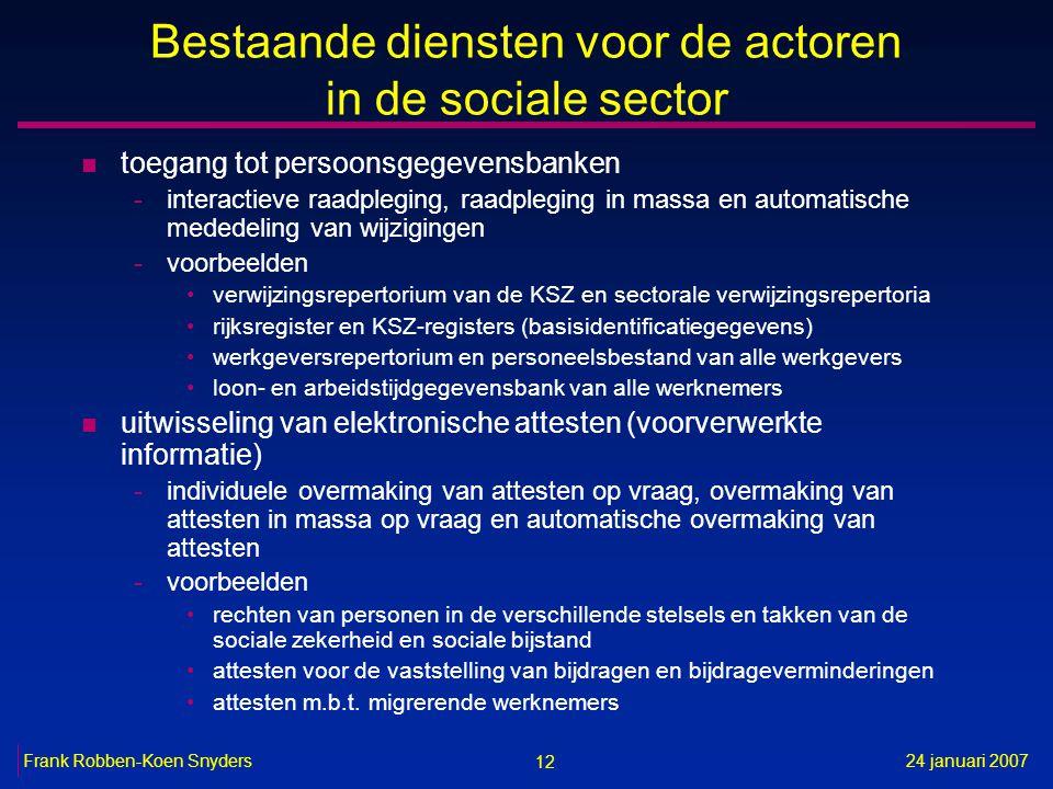 12 24 januari 2007Frank Robben-Koen Snyders Bestaande diensten voor de actoren in de sociale sector n toegang tot persoonsgegevensbanken -interactieve