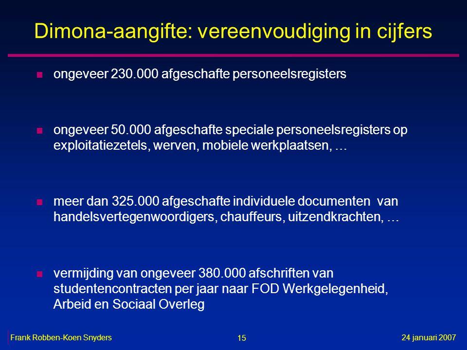 15 24 januari 2007Frank Robben-Koen Snyders Dimona-aangifte: vereenvoudiging in cijfers n ongeveer 230.000 afgeschafte personeelsregisters n ongeveer