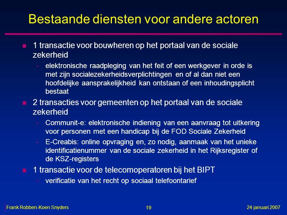 19 24 januari 2007Frank Robben-Koen Snyders Bestaande diensten voor andere actoren n 1 transactie voor bouwheren op het portaal van de sociale zekerhe