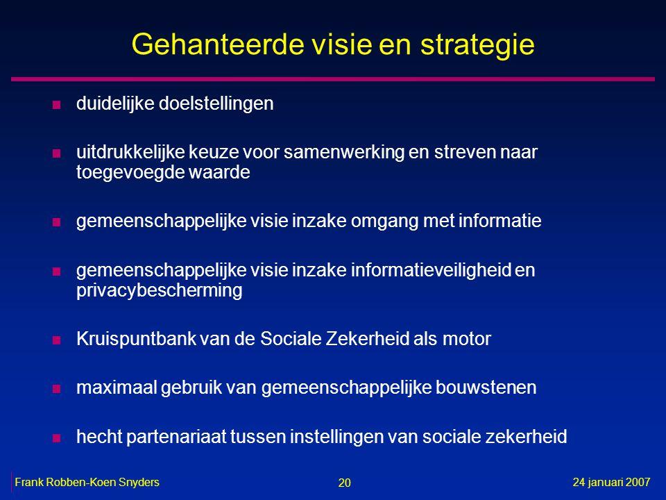 20 24 januari 2007Frank Robben-Koen Snyders Gehanteerde visie en strategie n duidelijke doelstellingen n uitdrukkelijke keuze voor samenwerking en str