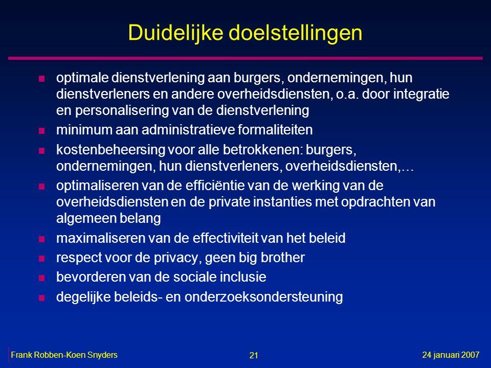 21 24 januari 2007Frank Robben-Koen Snyders Duidelijke doelstellingen n optimale dienstverlening aan burgers, ondernemingen, hun dienstverleners en andere overheidsdiensten, o.a.
