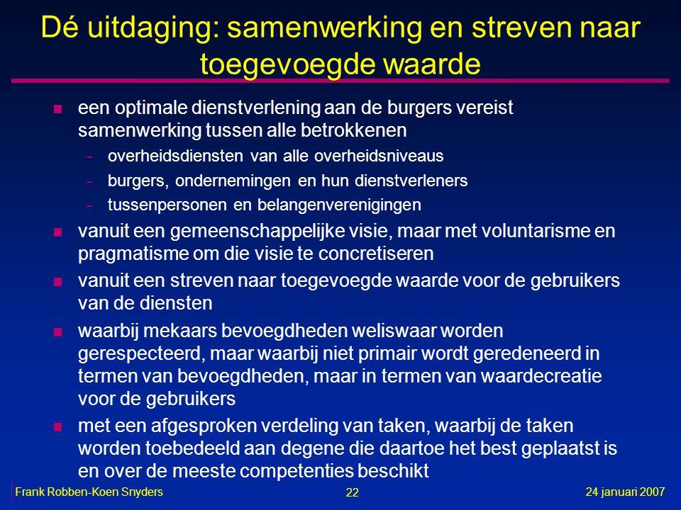 22 24 januari 2007Frank Robben-Koen Snyders Dé uitdaging: samenwerking en streven naar toegevoegde waarde n een optimale dienstverlening aan de burger