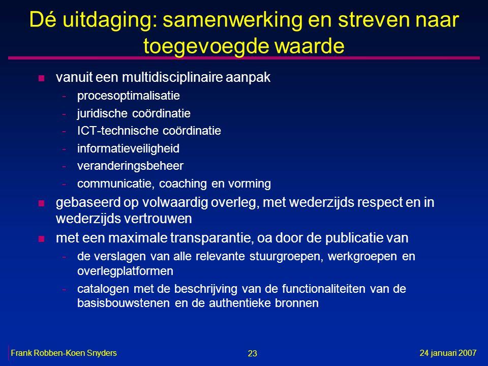 23 24 januari 2007Frank Robben-Koen Snyders Dé uitdaging: samenwerking en streven naar toegevoegde waarde n vanuit een multidisciplinaire aanpak -proc