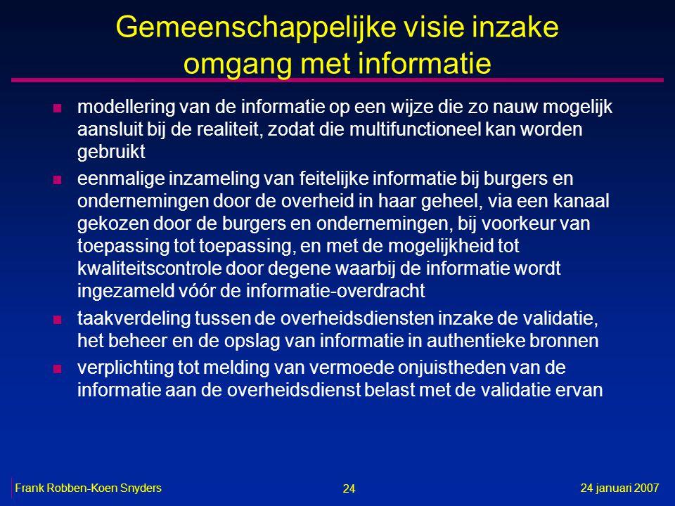 24 24 januari 2007Frank Robben-Koen Snyders Gemeenschappelijke visie inzake omgang met informatie n modellering van de informatie op een wijze die zo