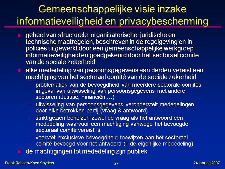 27 24 januari 2007Frank Robben-Koen Snyders Gemeenschappelijke visie inzake informatieveiligheid en privacybescherming n geheel van structurele, organ
