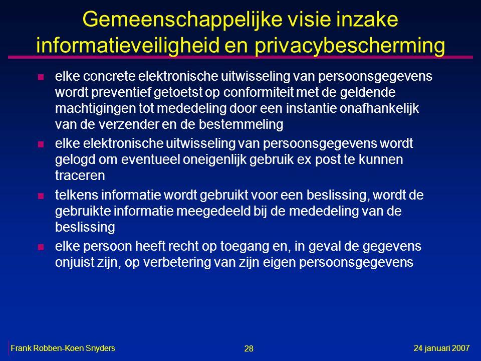 28 24 januari 2007Frank Robben-Koen Snyders Gemeenschappelijke visie inzake informatieveiligheid en privacybescherming n elke concrete elektronische u